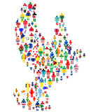 Peace concept with dove made of patterned people in world flags Stock Image