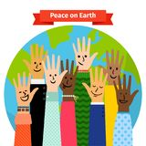 Peace concept peoples hands raised. Peace concept vector illustration with different peoples hands raised against the world map Stock Photography
