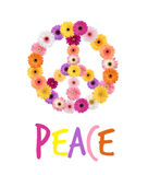 Peace Daisies. Multicolored daisies arranged into a peace sign & the word peace, both isolated on a white background Stock Photos