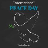 Peace Day background with dove on blackboard in cartoon style. Vector illustration for you design, card, banner, poster Royalty Free Stock Image
