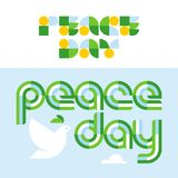 Peace day card with modern lettering and dove holding olive Royalty Free Stock Photography