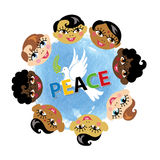 Peace day.Children faces,pigeon,watercolor blue Royalty Free Stock Photos