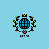 Peace day concept with globe, green leaves, crown and heart Royalty Free Stock Photos