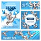 Peace day and missionary works banners with doves vector illustration
