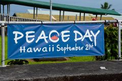 Peace Day. Sign on the Big Island of Hawaii Stock Photo