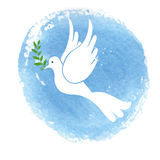 Peace day symbol.White pigeon,watercolor blue sky Stock Image