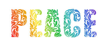 PEACE. Decorative Font made in swirls and floral elements. On a white background. Letters are painted by rainbow colors Royalty Free Stock Images