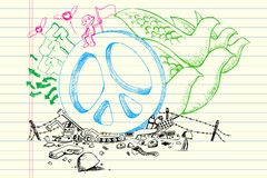 Peace Doodle. Illustration of peace concept in doodle style Royalty Free Stock Photo