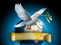 Peace Dove. White dove carrying an olive branch as a peace symbol. The Earth and an old banner on background. Copyspace on banner to insert your own text