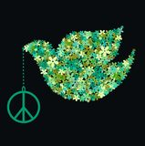Peace dove. Illustration of a green peace dove Stock Images