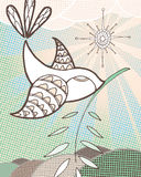 Peace Dove. Hand drawn bird with olive branch on abstract background Royalty Free Stock Images