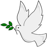 Peace dove. Cartoon illustration showing a white dove carrying a small branch, symbolizing peace royalty free illustration