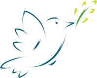 Peace dove. Symbol with flower illustration Royalty Free Stock Images