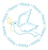 Peace Dove Card Design. Blue dove with golden leaf. Peace circles the dove all around in a lighter shade of blue. Great for holiday cards, postcards, note cards royalty free illustration
