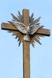 Peace Dove Cross. Silver dove with open wings at cross peace symbol Stock Photography