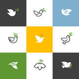Peace dove with green branch. Flat line design style vector Royalty Free Stock Photo