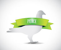 Peace dove and green ribbon illustration Royalty Free Stock Photos