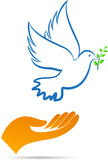 Peace dove with hand. A vector drawing represents peace dove with hand design stock illustration