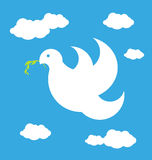 Peace dove. Illustration of the dove of peace on the sky Stock Photos
