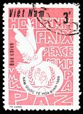 Peace Dove, Logo, Inscriptions, International Year of Peace serie, circa 1986 stock photography