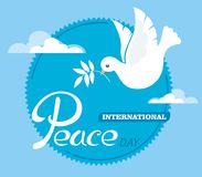 Peace dove with an olive branch for the International Peace Day poster. Flat design. stock illustration