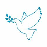 Peace Dove with Olive branch. Vector Illustration. Royalty Free Stock Photography