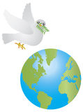 Peace Dove Olive Leaves Flying Over Earth Stock Photo