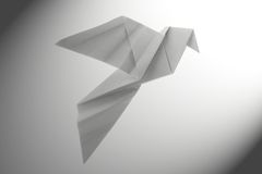 Peace dove origami. Flies to light Stock Photography