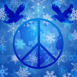 Peace Dove Over Earth Globe and Snowflakes Royalty Free Stock Photos