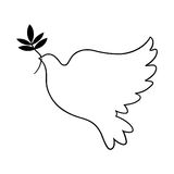 Peace dove sign. Peace dove outline; Dove holding olive branch illustration Stock Photo