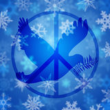 Peace Dove Symbol and Snowflakes Stock Photos