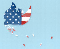 Peace Dove with USA flag. Dove with an olive branch It has a light blue textured background and a USA flag. July 4th template Stock Photography