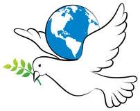 Peace dove. Vector illustration of peace dove holding globe royalty free illustration