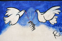 Peace doves. Berlin, a small part of East Side Gallery. The largest (1,3 km) and best kept segment of the Berlin Wall. Photo was taken in august 2011 vector illustration