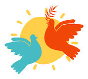 Peace doves and sun. Two pigeons with olive branch on sun background royalty free illustration