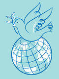 Peace on Earth. Line illustration of a dove holding an olive branch available as eps Stock Photo