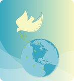 Peace on Earth. Dove with an olive branch flying over the Earth.  Symbol of peace of the world Stock Photos