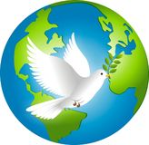 Peace on earth. Vector illustration of peace dove and earth Stock Photo