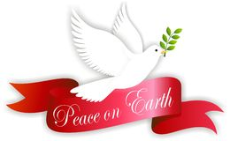 Peace on earth. Vector illustration of peace dove with banner bearing the words peace on earth Stock Images