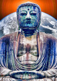 Peace on Earth. Buddha meditating with with weight of the Earth on his back Stock Images