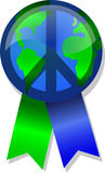 Peace on Earth Button/eps. Illustration of an earth button with ribbons and a peace sign over it Royalty Free Stock Photos