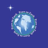 Peace on Earth concept. Globe with text surrounding it - Peace On Earth with wishing star Stock Photos
