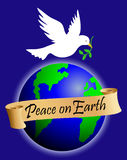 Peace on Earth/eps. Illustration of a peace dove and globe with a banner reading Peace on Earth. eps available, each piece can be used separately