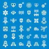 Peace earth and society unusual vector icons set, creative symbo Stock Photos