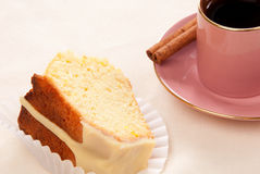 Peace of easter cake and espresso coffee cup Stock Photography
