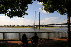 Peace on the Embankment Rhine in Düsseldorf Stock Image
