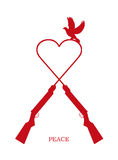 Peace/eps. Illustration of a peace dove and Heart-shaped with Two rifles, each piece can be used separately Stock Photo
