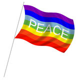 Peace flag. With pole flag waving over white background Stock Photography