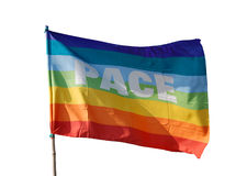 Peace flag. Flutters showing its colors Stock Images