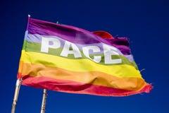 Peace Flag. The Peace Flag on the blue sky royalty free stock photos
